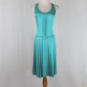 EQ:IQ Pleated Turquoise Silk Flapper Girl Dress